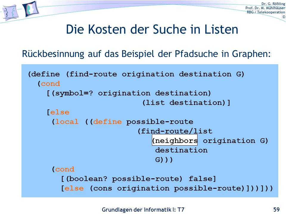 Dr. G. Rößling Prof. Dr. M. Mühlhäuser RBG / Telekooperation © Grundlagen der Informatik I: T7 Die Kosten der Suche in Listen Rückbesinnung auf das Be