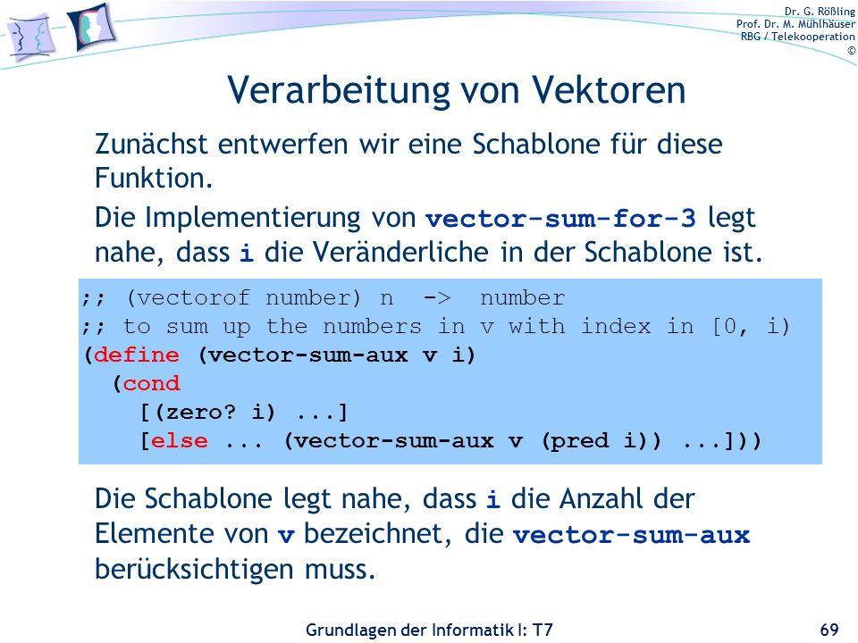 Dr. G. Rößling Prof. Dr. M. Mühlhäuser RBG / Telekooperation © Grundlagen der Informatik I: T7 Verarbeitung von Vektoren Zunächst entwerfen wir eine S
