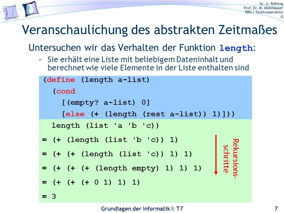 Dr. G. Rößling Prof. Dr. M. Mühlhäuser RBG / Telekooperation © Grundlagen der Informatik I: T7 Veranschaulichung des abstrakten Zeitmaßes Untersuchen