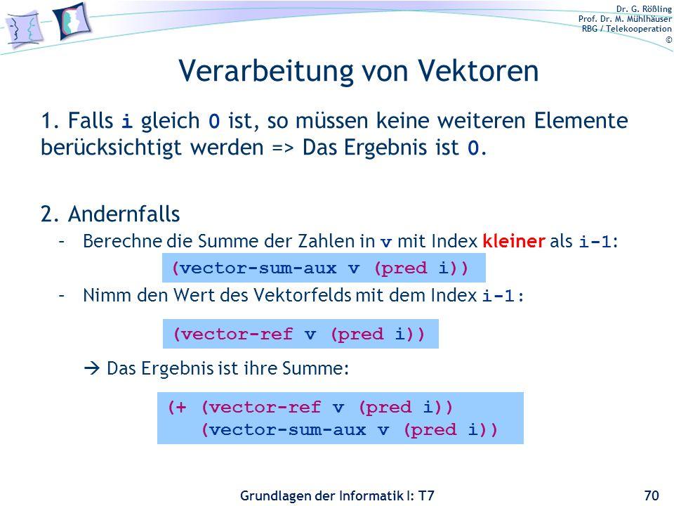 Dr. G. Rößling Prof. Dr. M. Mühlhäuser RBG / Telekooperation © Grundlagen der Informatik I: T7 Verarbeitung von Vektoren 1. Falls i gleich 0 ist, so m