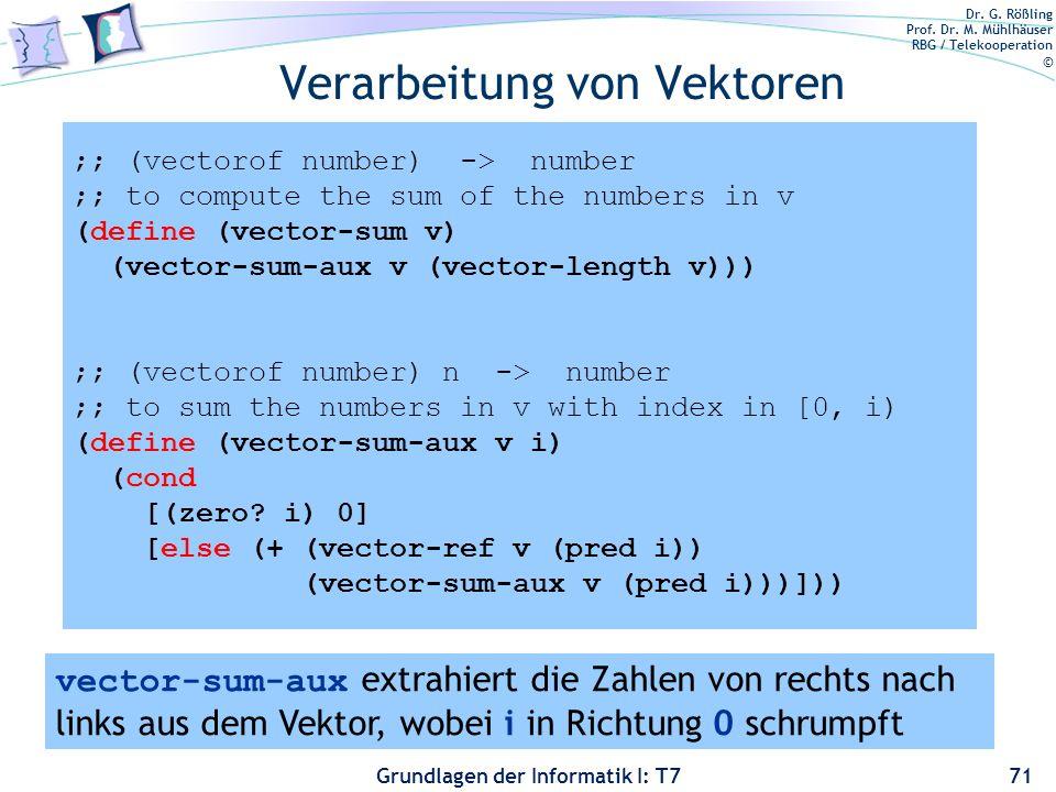 Dr. G. Rößling Prof. Dr. M. Mühlhäuser RBG / Telekooperation © Grundlagen der Informatik I: T7 Verarbeitung von Vektoren 71 ;; (vectorof number) -> nu