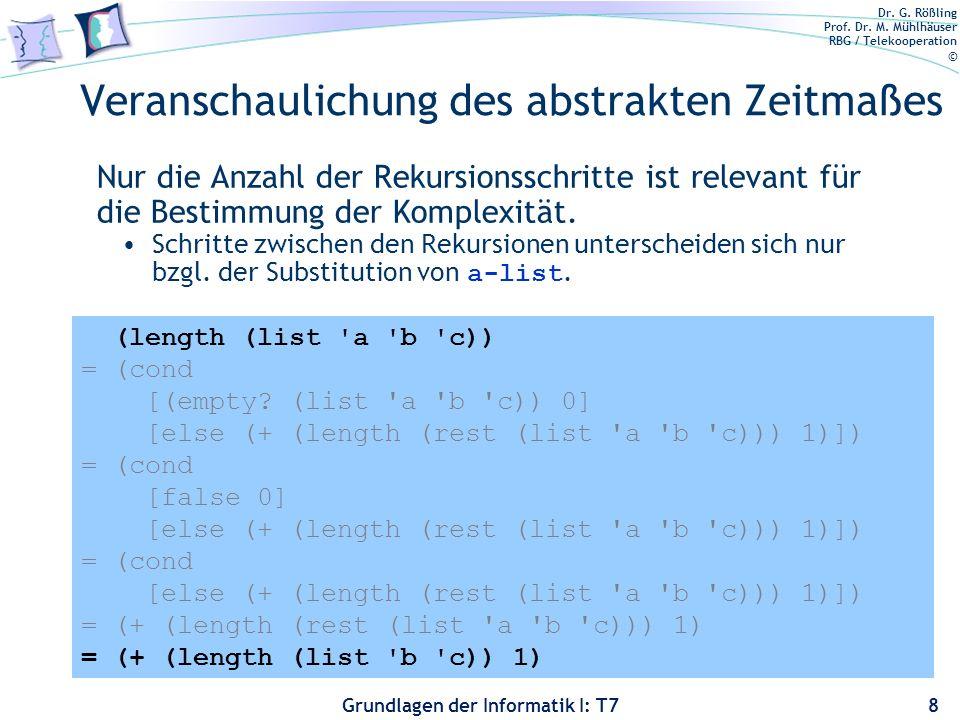Dr. G. Rößling Prof. Dr. M. Mühlhäuser RBG / Telekooperation © Grundlagen der Informatik I: T7 Veranschaulichung des abstrakten Zeitmaßes Nur die Anza