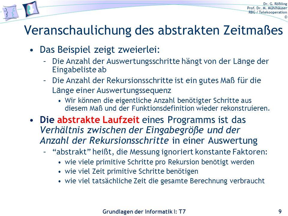 Dr. G. Rößling Prof. Dr. M. Mühlhäuser RBG / Telekooperation © Grundlagen der Informatik I: T7 Veranschaulichung des abstrakten Zeitmaßes Das Beispiel