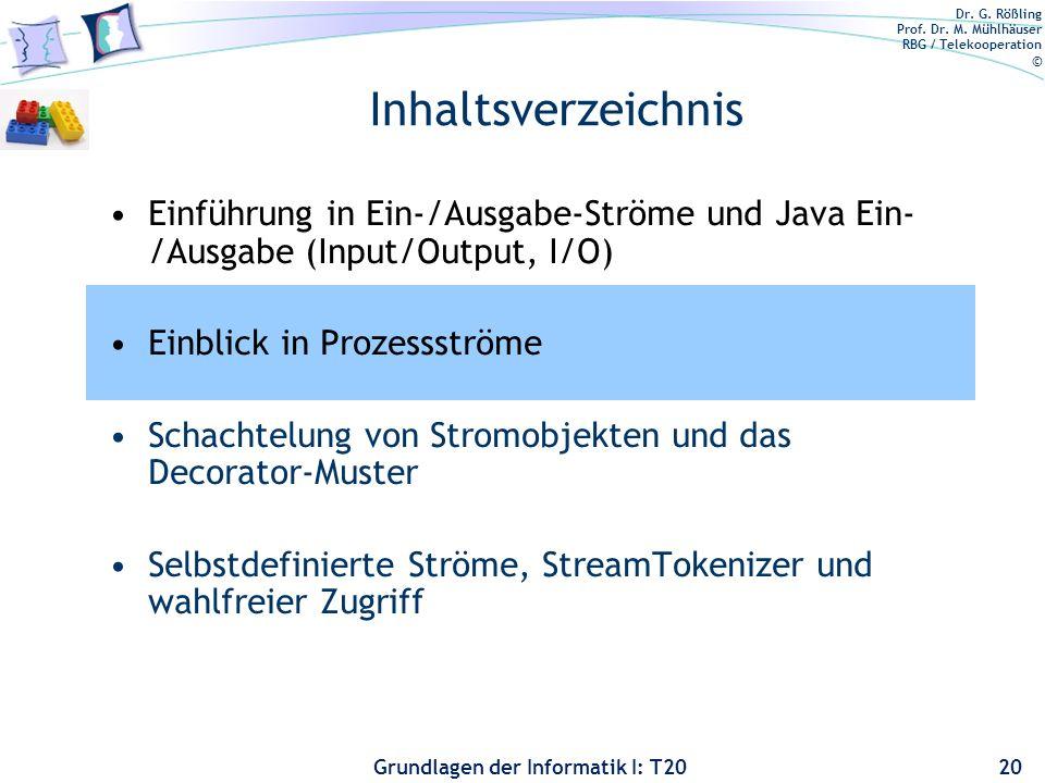 Dr. G. Rößling Prof. Dr. M. Mühlhäuser RBG / Telekooperation © Grundlagen der Informatik I: T20 Inhaltsverzeichnis Einführung in Ein-/Ausgabe-Ströme u