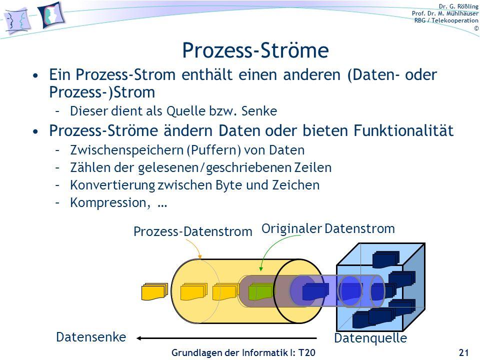 Dr. G. Rößling Prof. Dr. M. Mühlhäuser RBG / Telekooperation © Grundlagen der Informatik I: T20 Prozess-Ströme Ein Prozess-Strom enthält einen anderen