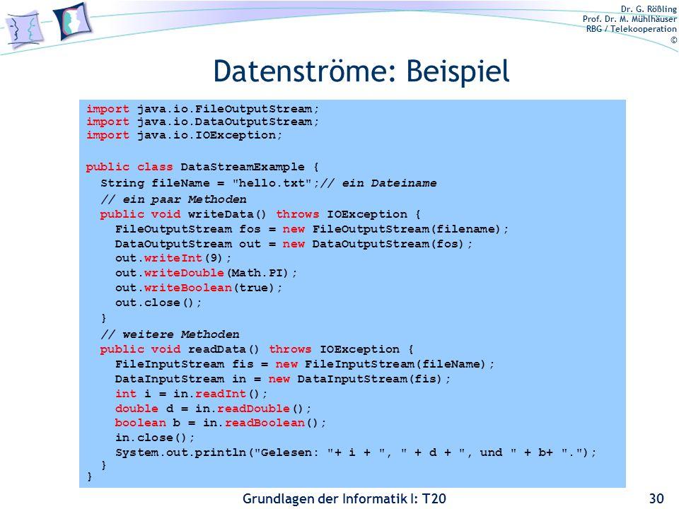 Dr. G. Rößling Prof. Dr. M. Mühlhäuser RBG / Telekooperation © Grundlagen der Informatik I: T20 Datenströme: Beispiel 30 import java.io.FileOutputStre