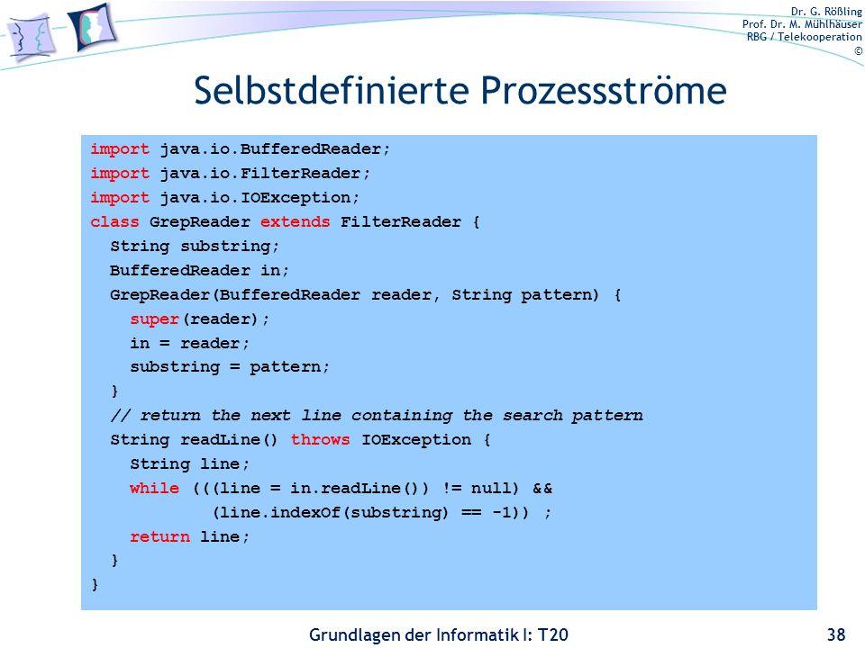 Dr. G. Rößling Prof. Dr. M. Mühlhäuser RBG / Telekooperation © Grundlagen der Informatik I: T20 Selbstdefinierte Prozessströme 38 import java.io.Buffe