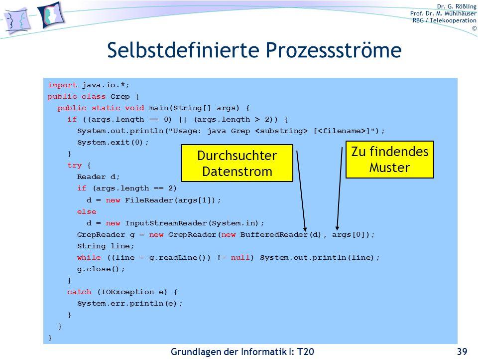 Dr. G. Rößling Prof. Dr. M. Mühlhäuser RBG / Telekooperation © Grundlagen der Informatik I: T20 import java.io.*; public class Grep { public static vo