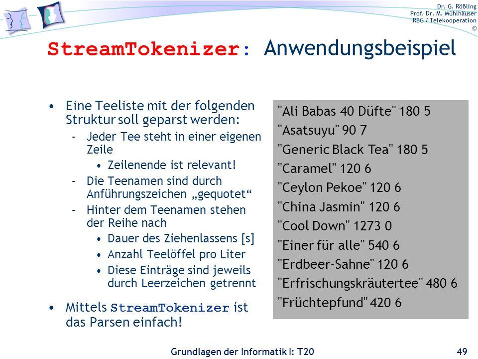 Dr. G. Rößling Prof. Dr. M. Mühlhäuser RBG / Telekooperation © Grundlagen der Informatik I: T20 StreamTokenizer: Anwendungsbeispiel Eine Teeliste mit