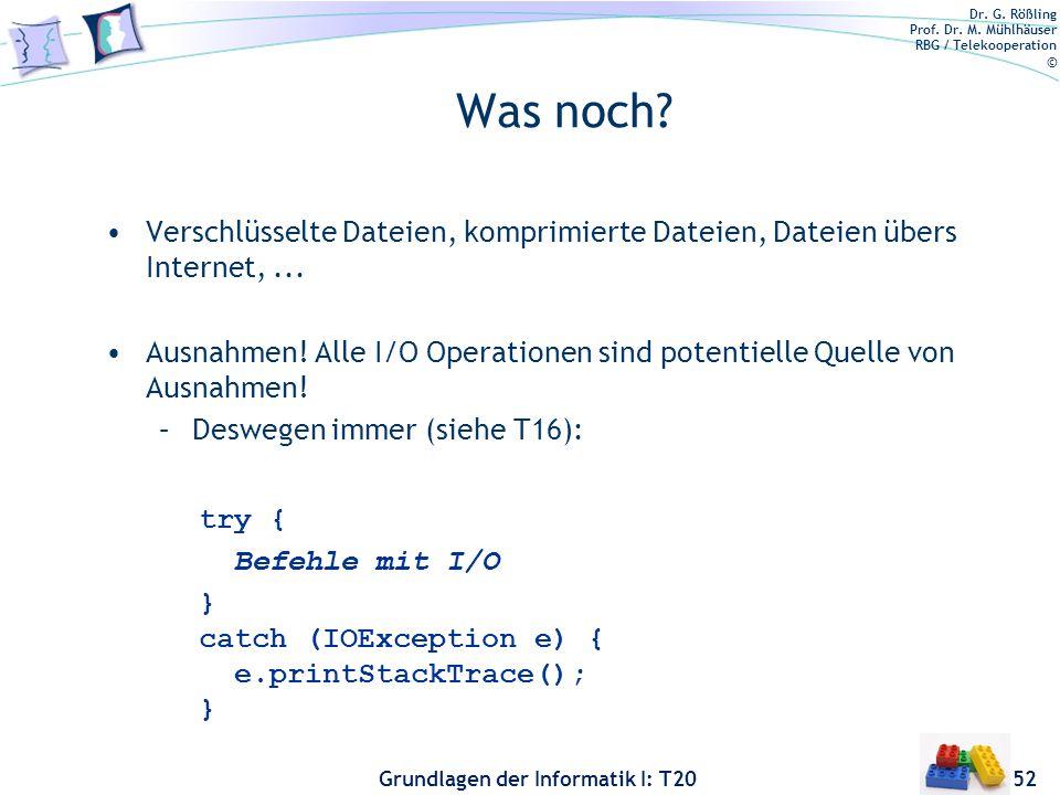 Dr. G. Rößling Prof. Dr. M. Mühlhäuser RBG / Telekooperation © Grundlagen der Informatik I: T20 Was noch? Verschlüsselte Dateien, komprimierte Dateien