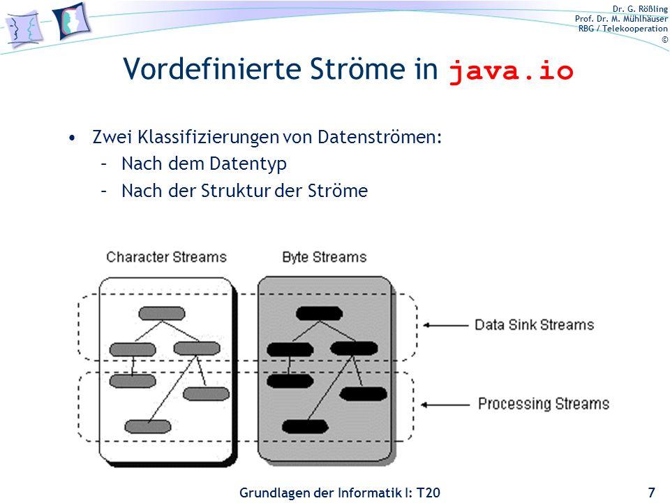 Dr. G. Rößling Prof. Dr. M. Mühlhäuser RBG / Telekooperation © Grundlagen der Informatik I: T20 Vordefinierte Ströme in java.io 7 Zwei Klassifizierung