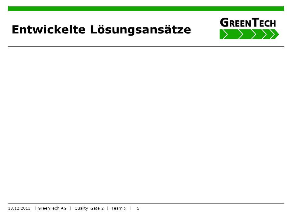 5 Entwickelte Lösungsansätze 13.12.2013 | GreenTech AG | Quality Gate 2 | Team x |