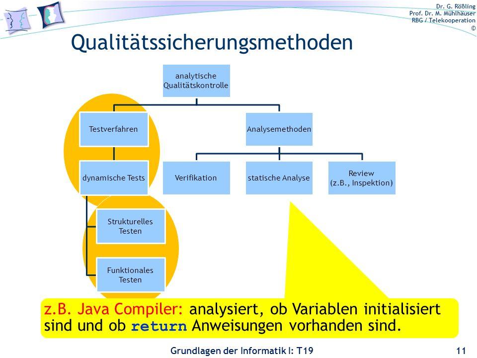 Dr. G. Rößling Prof. Dr. M. Mühlhäuser RBG / Telekooperation © Grundlagen der Informatik I: T19 Verschiedene Ansätze Mathematiker: 3 OK, 5 OK, 7 OK; ü