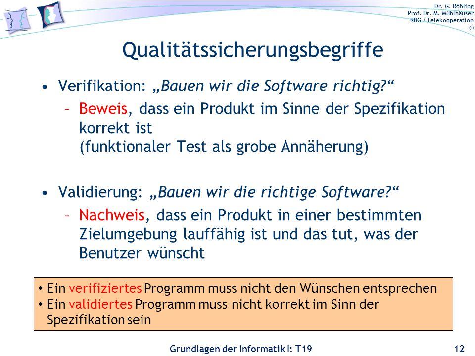 Dr. G. Rößling Prof. Dr. M. Mühlhäuser RBG / Telekooperation © Grundlagen der Informatik I: T19 analytische Qualitätskontrolle Testverfahren dynamisch