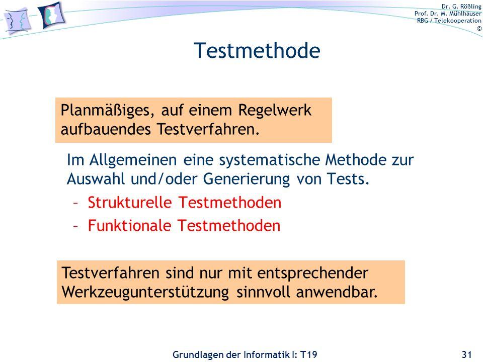 Dr. G. Rößling Prof. Dr. M. Mühlhäuser RBG / Telekooperation © Grundlagen der Informatik I: T19 Inhaltsverzeichnis 30 Einführung in die Qualitätssiche
