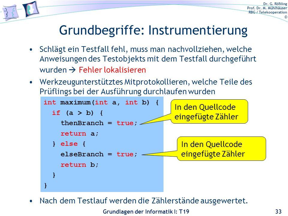 Dr. G. Rößling Prof. Dr. M. Mühlhäuser RBG / Telekooperation © Grundlagen der Informatik I: T19 Grundbegriffe Testdatum –Eingabewert, der einen Eingab