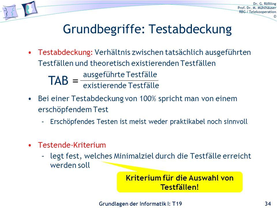 Dr. G. Rößling Prof. Dr. M. Mühlhäuser RBG / Telekooperation © Grundlagen der Informatik I: T19 Grundbegriffe: Instrumentierung Schlägt ein Testfall f