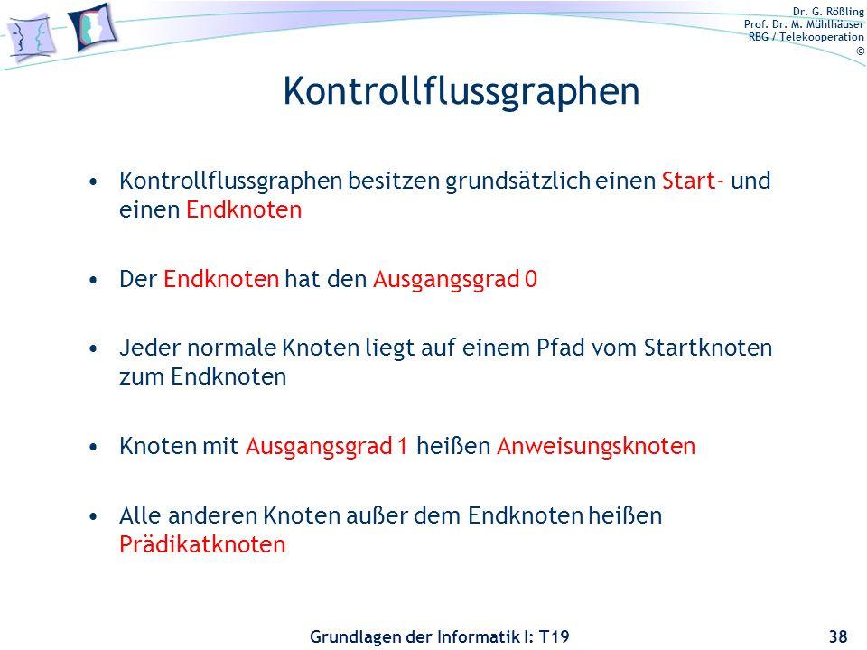 Dr. G. Rößling Prof. Dr. M. Mühlhäuser RBG / Telekooperation © Grundlagen der Informatik I: T19 Kontrollflussgraphen Kontrollflussgraph wird durch ein