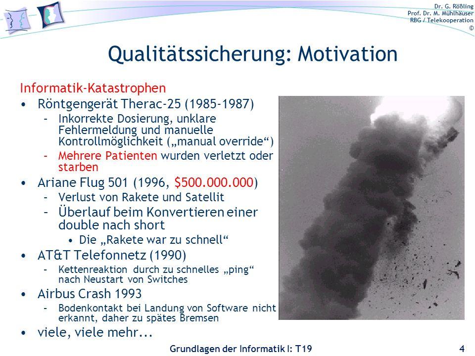 Dr. G. Rößling Prof. Dr. M. Mühlhäuser RBG / Telekooperation © Grundlagen der Informatik I: T19 Qualitätssicherung: Motivation Dieser Code in java.uti