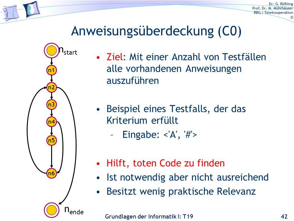 Dr. G. Rößling Prof. Dr. M. Mühlhäuser RBG / Telekooperation © Grundlagen der Informatik I: T19 Überdeckungstests 41 Anweisungsüberdeckung Pfadüberdec