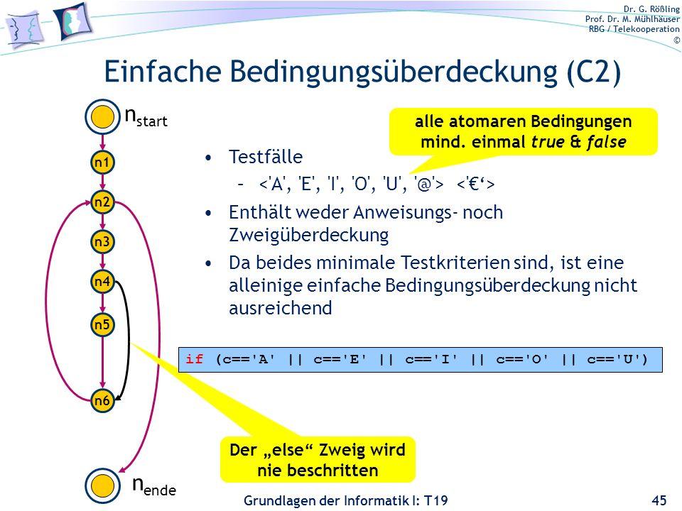 Dr. G. Rößling Prof. Dr. M. Mühlhäuser RBG / Telekooperation © Grundlagen der Informatik I: T19 Zweigüberdeckung (C1): Beispiel 44 n1 n2 n3 n4 n6 n st