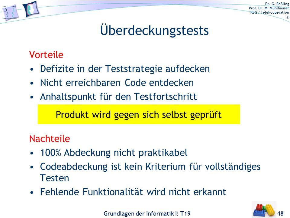 Dr. G. Rößling Prof. Dr. M. Mühlhäuser RBG / Telekooperation © Grundlagen der Informatik I: T19 Pfadüberdeckung (C7) 47 n1n1 n2n2 n3n3 n4n4 n5n5 n6n6