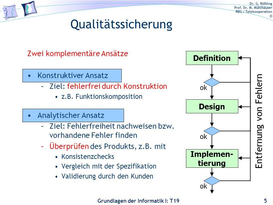 Dr. G. Rößling Prof. Dr. M. Mühlhäuser RBG / Telekooperation © Grundlagen der Informatik I: T19 Qualitätssicherung: Motivation Informatik-Katastrophen