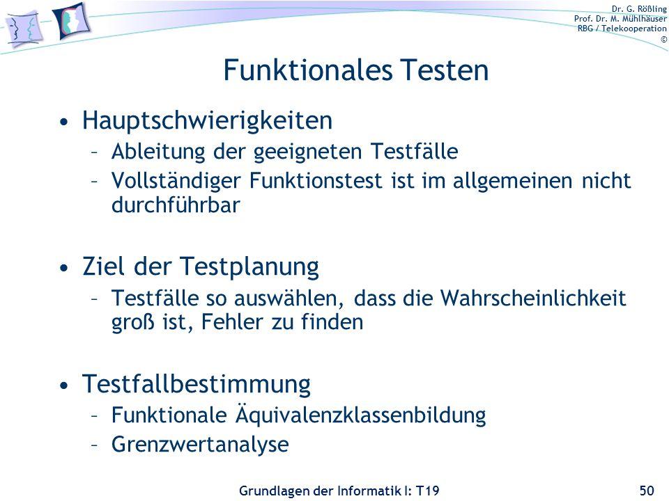Dr. G. Rößling Prof. Dr. M. Mühlhäuser RBG / Telekooperation © Grundlagen der Informatik I: T19 Funktionales Testen Motivation: Es ist unzureichend, e