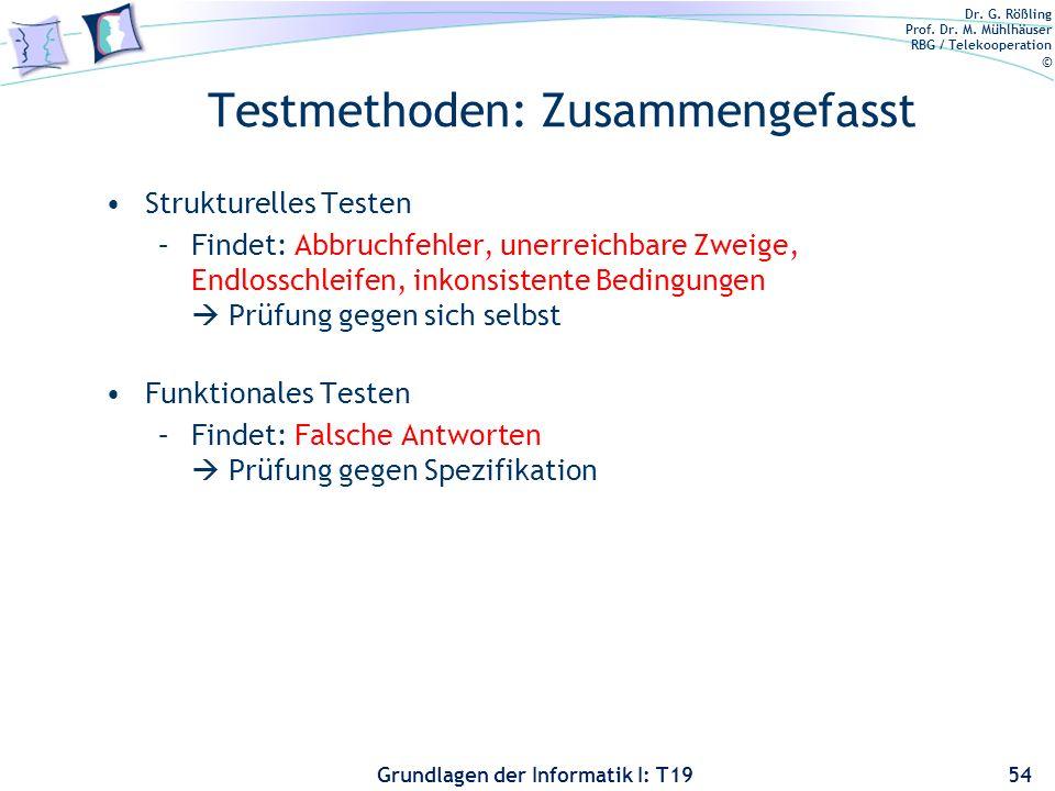 Dr. G. Rößling Prof. Dr. M. Mühlhäuser RBG / Telekooperation © Grundlagen der Informatik I: T19 Grenzwertanalyse Motivation: Fehler treten typischerwe