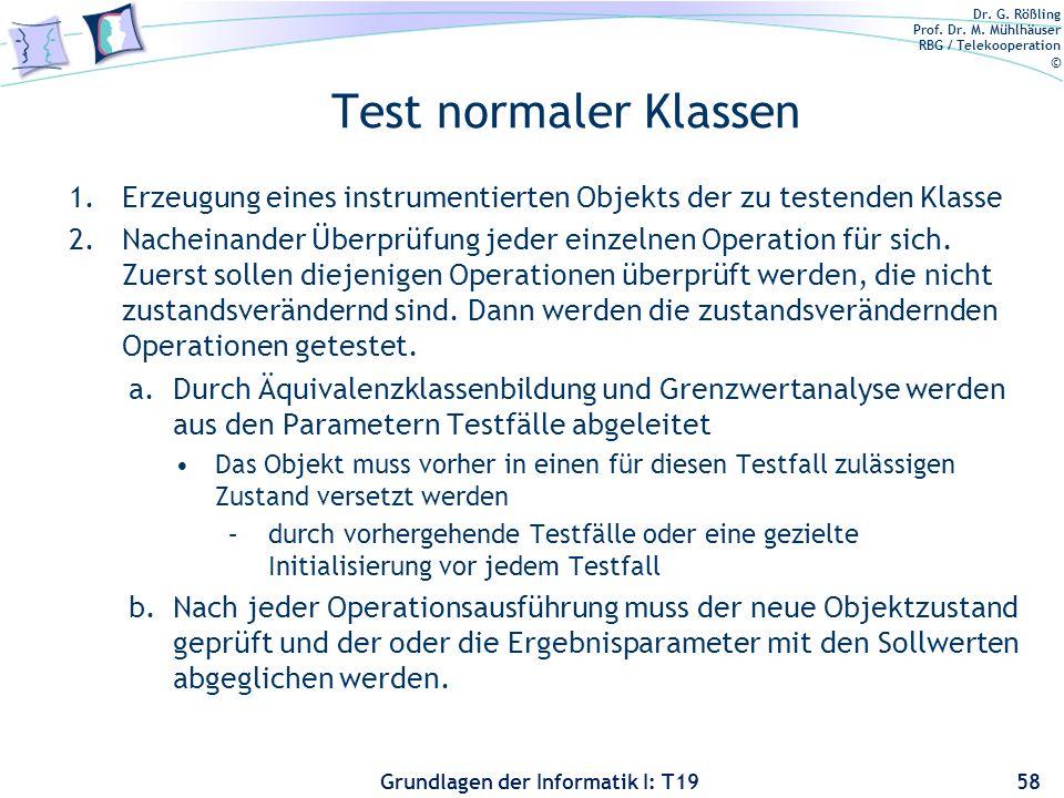 Dr. G. Rößling Prof. Dr. M. Mühlhäuser RBG / Telekooperation © Grundlagen der Informatik I: T19 Testen von Klassen und Unterklassen Die kleinste, unab