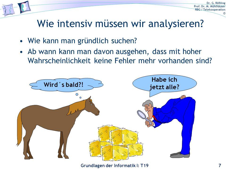 Dr. G. Rößling Prof. Dr. M. Mühlhäuser RBG / Telekooperation © Grundlagen der Informatik I: T19 Warum wir analysieren müssen... Solange Software von M