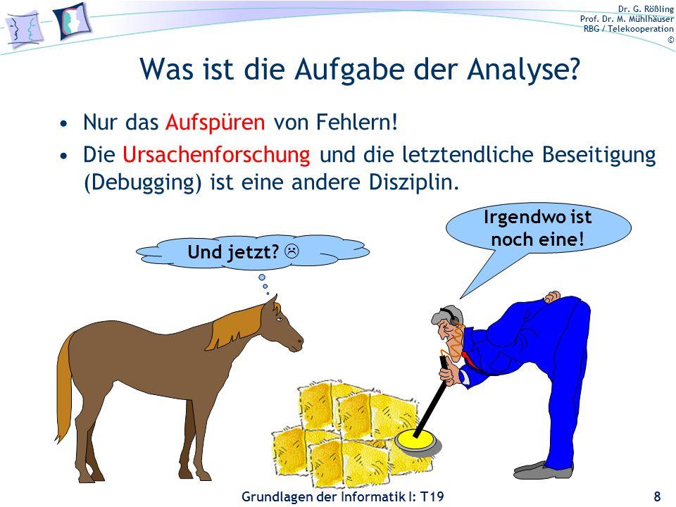 Dr. G. Rößling Prof. Dr. M. Mühlhäuser RBG / Telekooperation © Grundlagen der Informatik I: T19 Wie intensiv müssen wir analysieren? Wie kann man grün