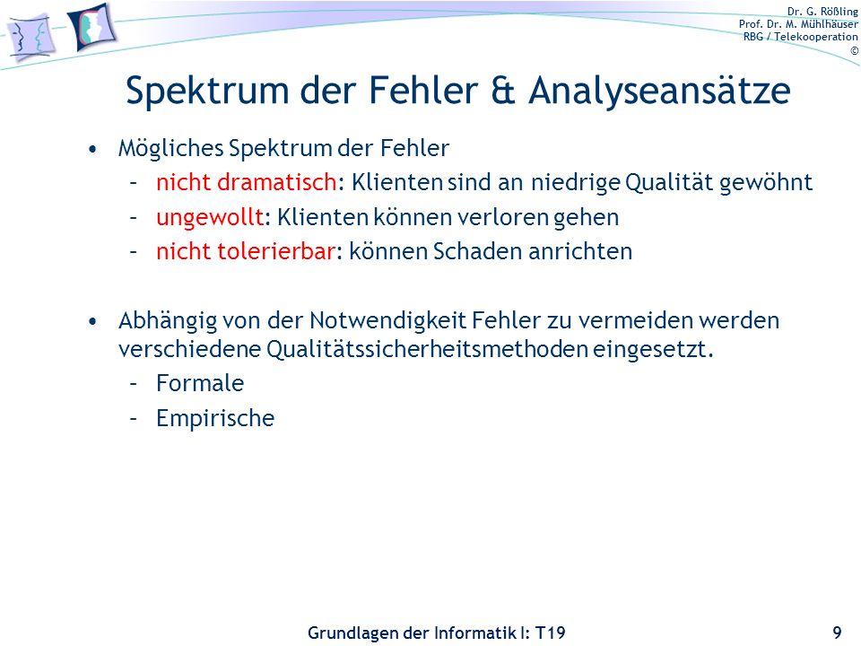 Dr. G. Rößling Prof. Dr. M. Mühlhäuser RBG / Telekooperation © Grundlagen der Informatik I: T19 Was ist die Aufgabe der Analyse? Nur das Aufspüren von