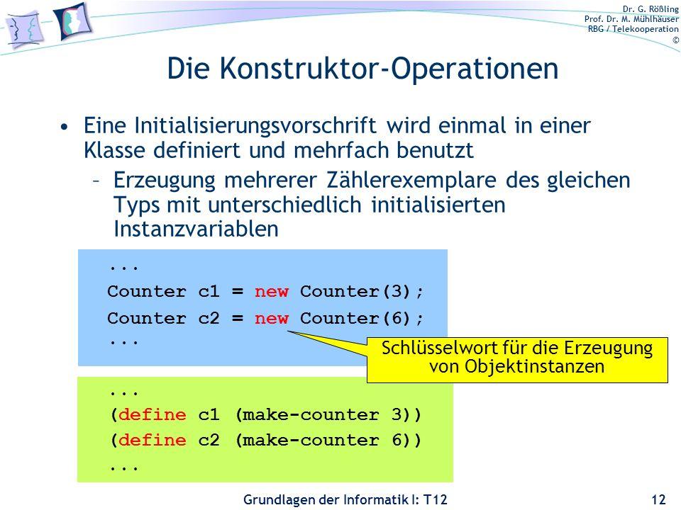 Dr. G. Rößling Prof. Dr. M. Mühlhäuser RBG / Telekooperation © Grundlagen der Informatik I: T12 Die Konstruktor-Operationen Eine Initialisierungsvorsc