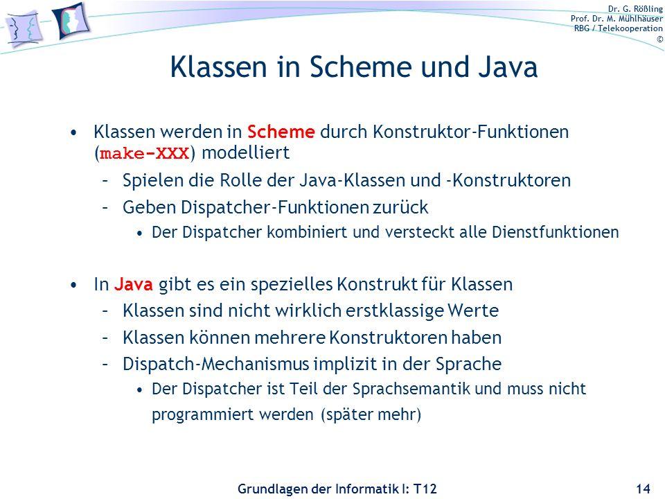 Dr. G. Rößling Prof. Dr. M. Mühlhäuser RBG / Telekooperation © Grundlagen der Informatik I: T12 Klassen in Scheme und Java Klassen werden in Scheme du