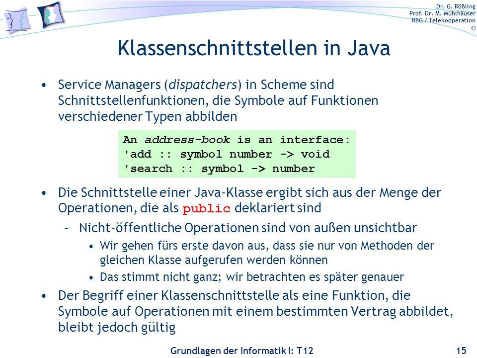 Dr. G. Rößling Prof. Dr. M. Mühlhäuser RBG / Telekooperation © Grundlagen der Informatik I: T12 Klassenschnittstellen in Java Service Managers (dispat