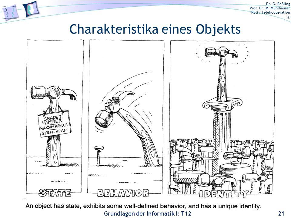 Dr. G. Rößling Prof. Dr. M. Mühlhäuser RBG / Telekooperation © Grundlagen der Informatik I: T12 Charakteristika eines Objekts 21