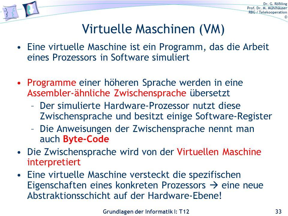 Dr. G. Rößling Prof. Dr. M. Mühlhäuser RBG / Telekooperation © Grundlagen der Informatik I: T12 Virtuelle Maschinen (VM) Eine virtuelle Maschine ist e