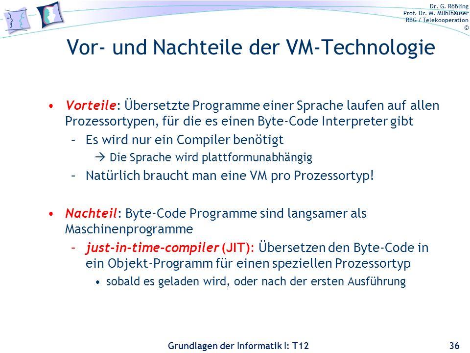 Dr. G. Rößling Prof. Dr. M. Mühlhäuser RBG / Telekooperation © Grundlagen der Informatik I: T12 Vor- und Nachteile der VM-Technologie Vorteile: Überse