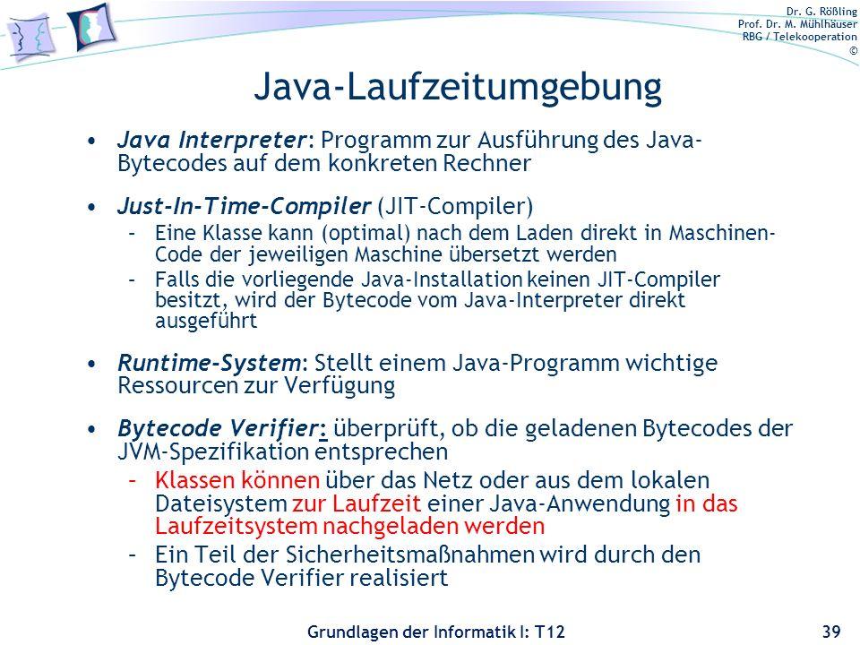 Dr. G. Rößling Prof. Dr. M. Mühlhäuser RBG / Telekooperation © Grundlagen der Informatik I: T12 Java-Laufzeitumgebung Java Interpreter: Programm zur A