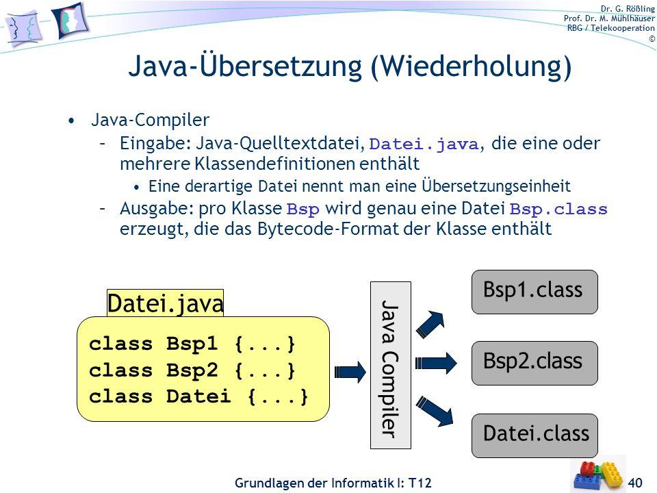 Dr. G. Rößling Prof. Dr. M. Mühlhäuser RBG / Telekooperation © Grundlagen der Informatik I: T12 Java-Übersetzung (Wiederholung) Java-Compiler –Eingabe
