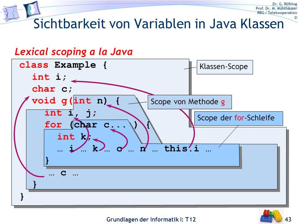 Dr. G. Rößling Prof. Dr. M. Mühlhäuser RBG / Telekooperation © Grundlagen der Informatik I: T12 Sichtbarkeit von Variablen in Java Klassen 43 Lexical