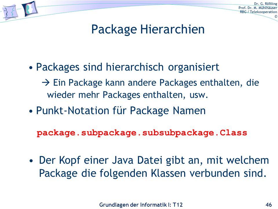Dr. G. Rößling Prof. Dr. M. Mühlhäuser RBG / Telekooperation © Grundlagen der Informatik I: T12 Package Hierarchien Packages sind hierarchisch organis