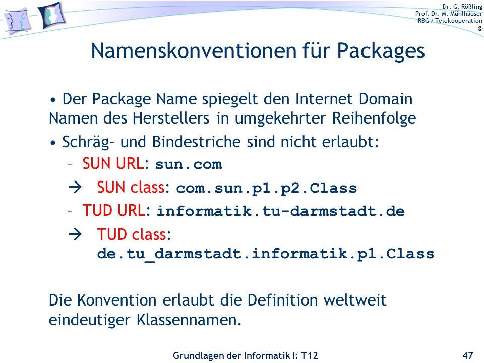 Dr. G. Rößling Prof. Dr. M. Mühlhäuser RBG / Telekooperation © Grundlagen der Informatik I: T12 Namenskonventionen für Packages Der Package Name spieg