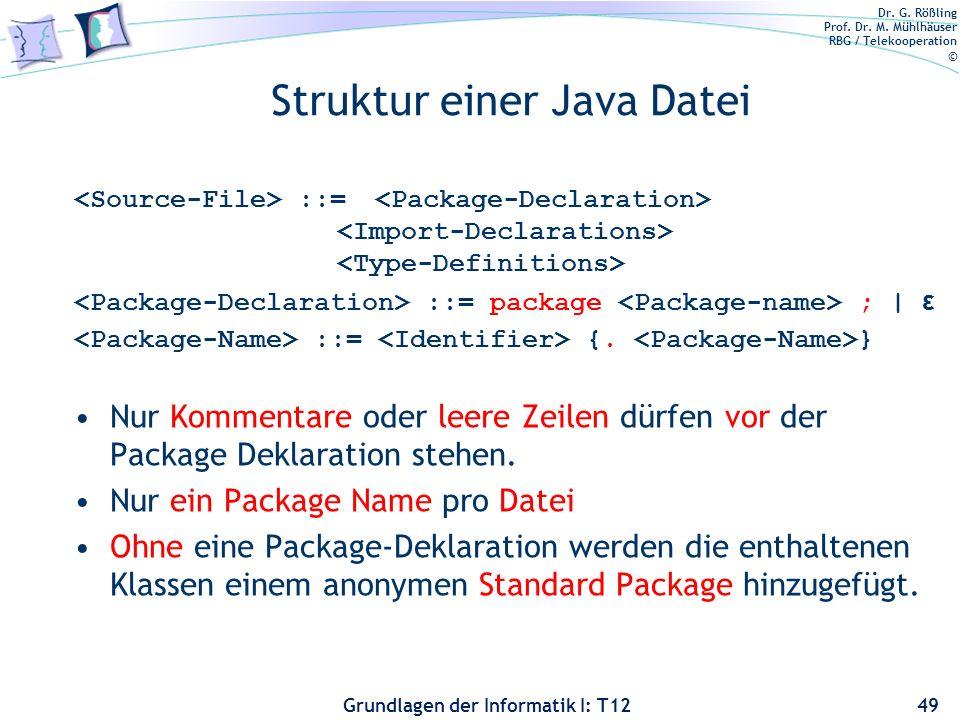 Dr. G. Rößling Prof. Dr. M. Mühlhäuser RBG / Telekooperation © Grundlagen der Informatik I: T12 Struktur einer Java Datei ::= ::= package ; | ε ::= {.