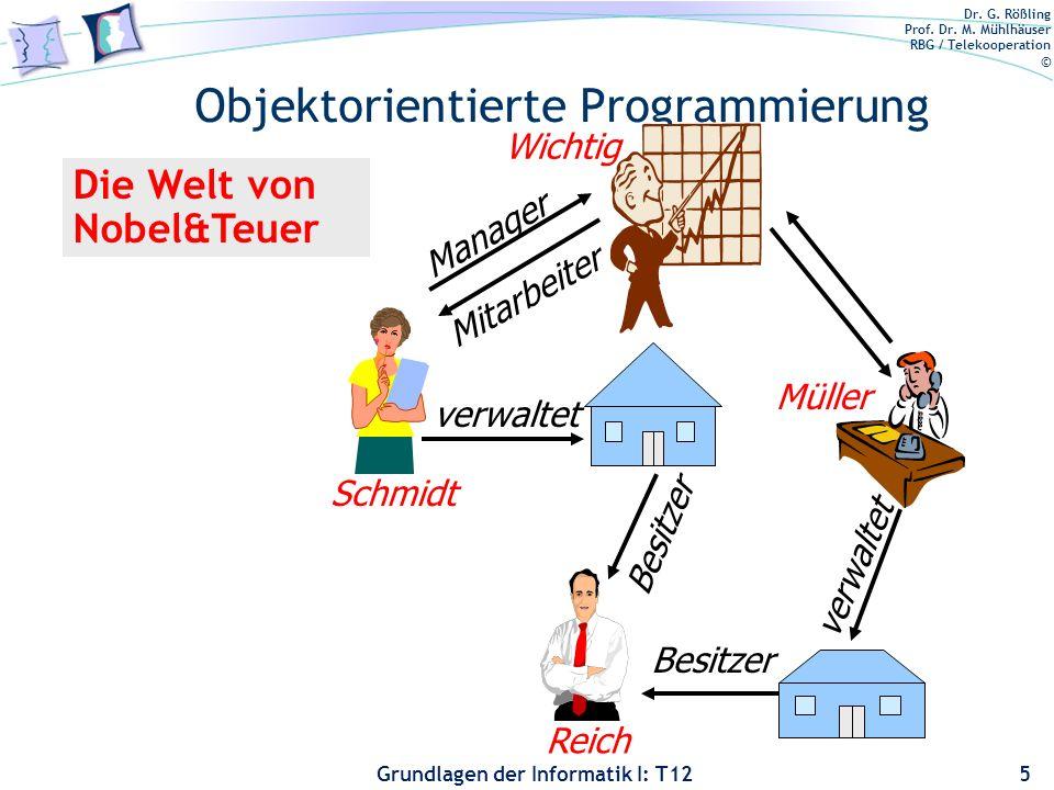 Dr. G. Rößling Prof. Dr. M. Mühlhäuser RBG / Telekooperation © Grundlagen der Informatik I: T12 Objektorientierte Programmierung 5 Besitzer Reich Besi