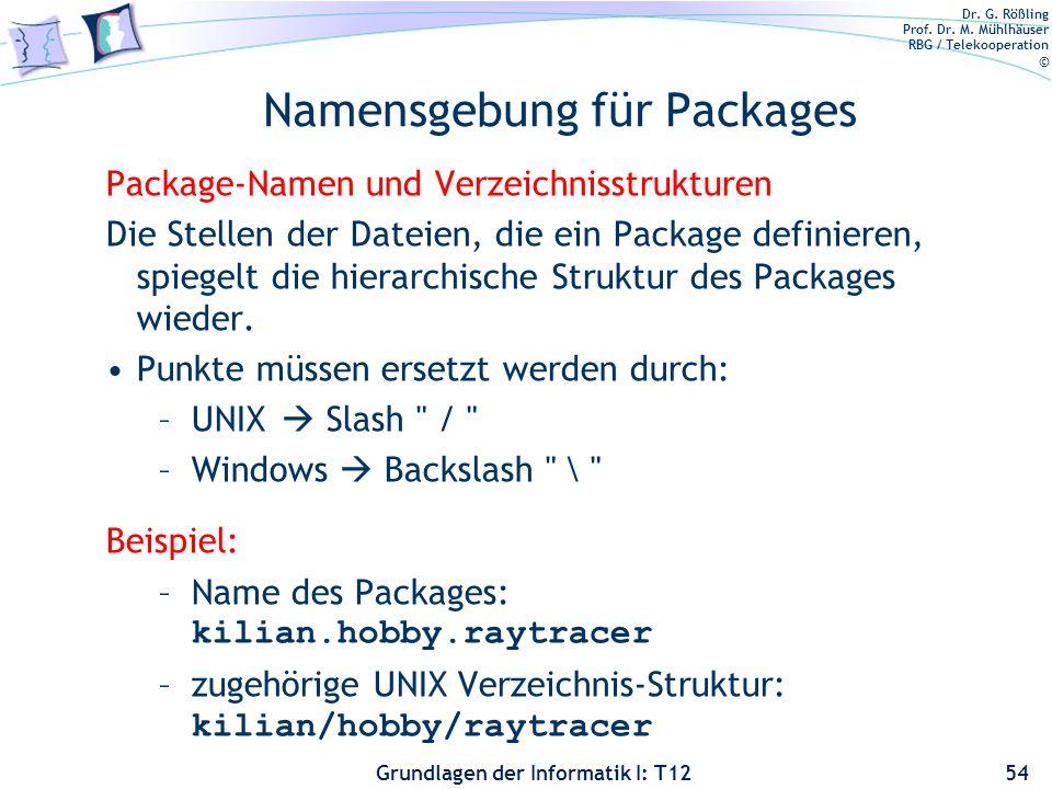 Dr. G. Rößling Prof. Dr. M. Mühlhäuser RBG / Telekooperation © Grundlagen der Informatik I: T12 Namensgebung für Packages Package-Namen und Verzeichni