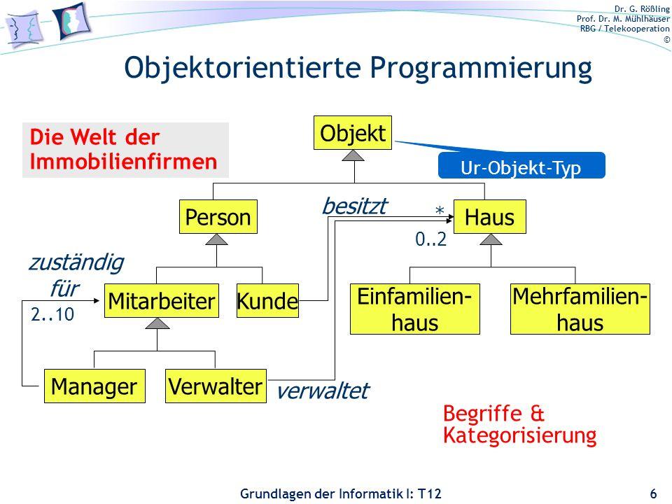 Dr. G. Rößling Prof. Dr. M. Mühlhäuser RBG / Telekooperation © Grundlagen der Informatik I: T12 Objektorientierte Programmierung 6 Objekt PersonHaus M