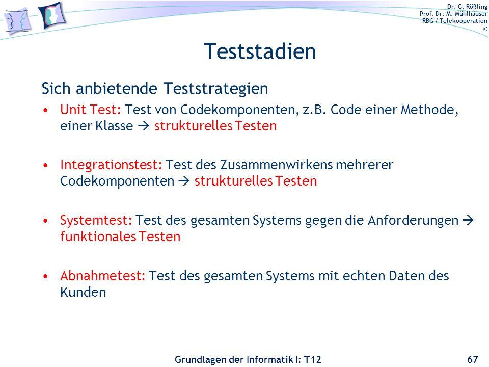 Dr. G. Rößling Prof. Dr. M. Mühlhäuser RBG / Telekooperation © Grundlagen der Informatik I: T12 Teststadien Sich anbietende Teststrategien Unit Test: