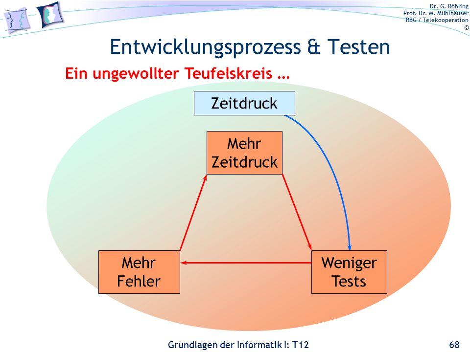 Dr. G. Rößling Prof. Dr. M. Mühlhäuser RBG / Telekooperation © Grundlagen der Informatik I: T12 Entwicklungsprozess & Testen 68 Zeitdruck Weniger Test